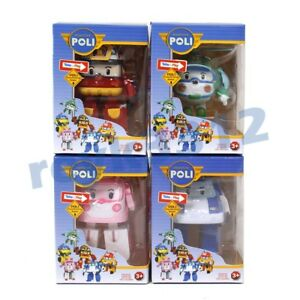 4Pcs Robocar POLI ROY AMBER  Robot Car Transformers Figure Toy Kids Gift