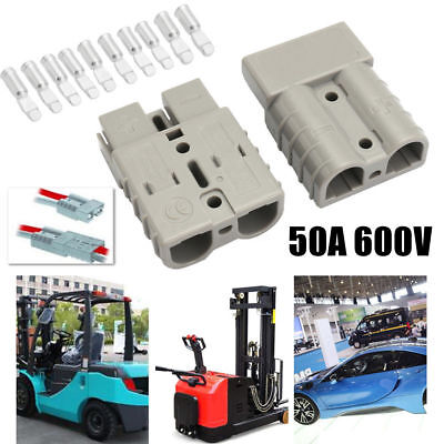 5pcs 600v 50a 50amp Grey Plug Connector Carvan Charger Battery For 12v Or 24v