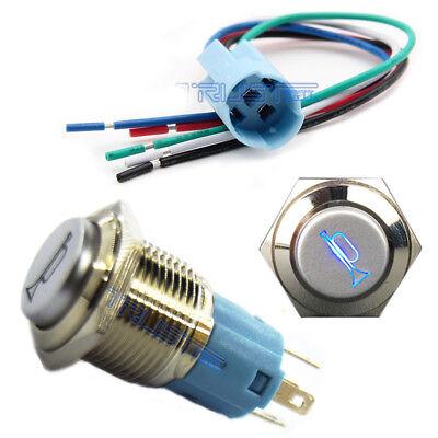 16mm Socket Plug+12V 16mm LEDLighted Momentary Metal Push Button Air Horn Switch