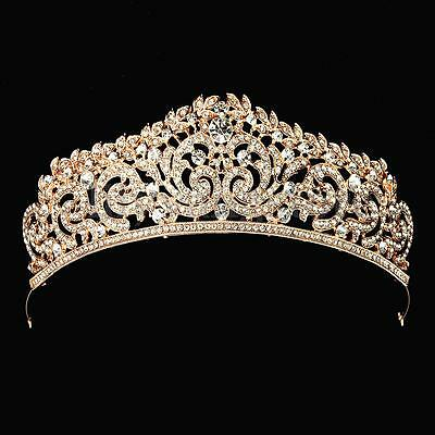 Rose Gold Crystal Wedding Bridal Crown Rhinestone Party Pageant Tiara Hairband