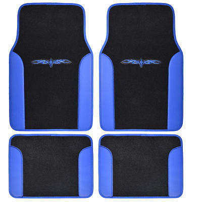 Tattoo Design Floor Mats for Car SUV Van 2 Tone 4 Piece Blue Black - Lacrosse Tattoos