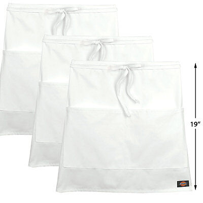 3-pack Dickies Chef 19 Long Half Waist Apron Restaurant Uniform Dc516