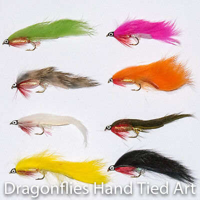 8 Classic Zonker Streamers Fly fishing Trout & Grayling Flies 8 colours   - Coloured Streamers