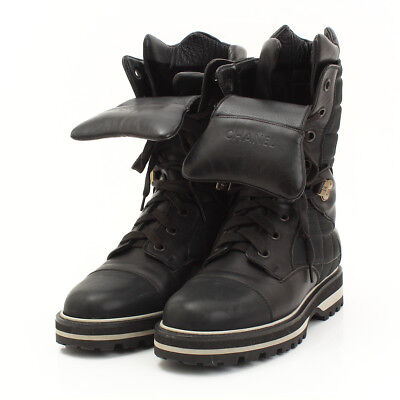 AUTHENTIC CHANEL SPORT LINE COCO MARK SNOW BOOTS BLACK GRADE B USED  - AT