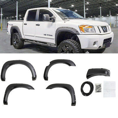Fits 04-15 Nissan Titan Pocket Rivet Style Textured Fender Flares Black ABS ()