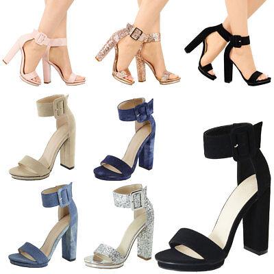 New Open Toe Buckle Ankle Strap Chunky High Heel Low Platform Womens Pump Sandal - New Womens Honey High Heel
