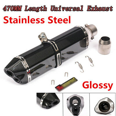 "2"" Motorcycle Glossy Carbon Fiber Look Dual-outlet Exhaust Muffler Tail Tip Pipe"
