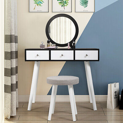 Dressing Table & Stool Makeup Vanity Set w/ Removable Mirror 3 Drawers White