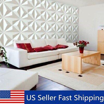 12Pcs 32sqft 3D Wall Panel Diamond Design Paintable Background Decal Home Decor