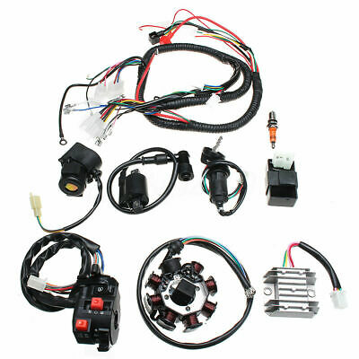 Electric Wiring Harness Wire Loom CDI Stator Full Kit For ATV QUAD 150/200/250CC