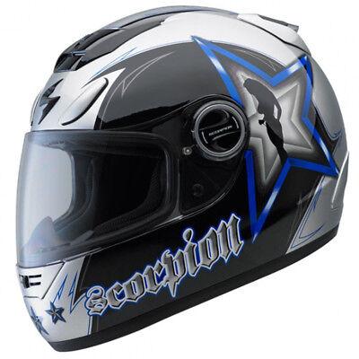 35be1aa6 Scorpion EXO-700 Hollywood Full Face Motorcycle Helmet Blue Black Silver  XLarge