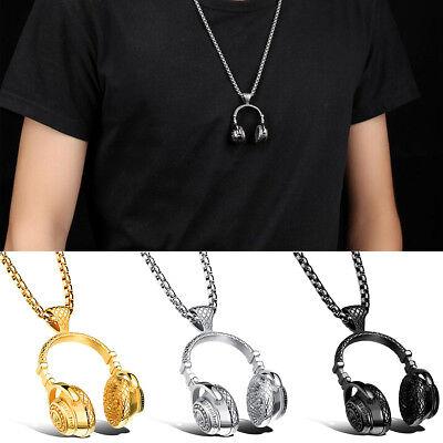 Hip Hop Titanium Steel Music Headphone Headset Pendant Necklace Men's Punk Gift