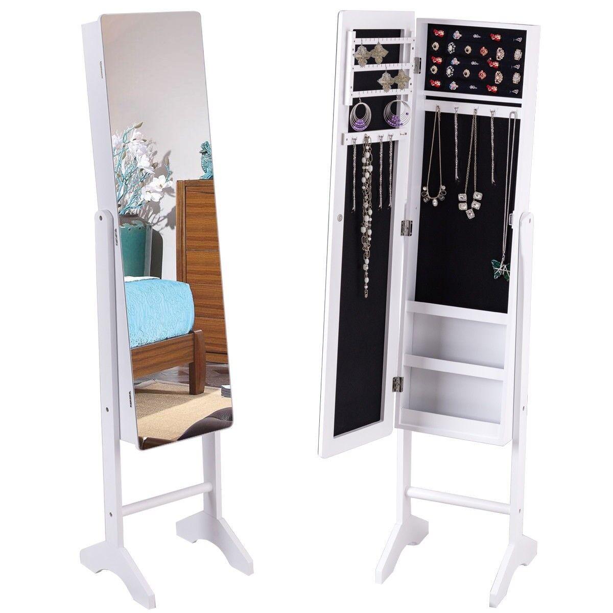 Freestanding Mirror Jewelry Cabinet Armoire Storage Mirrored