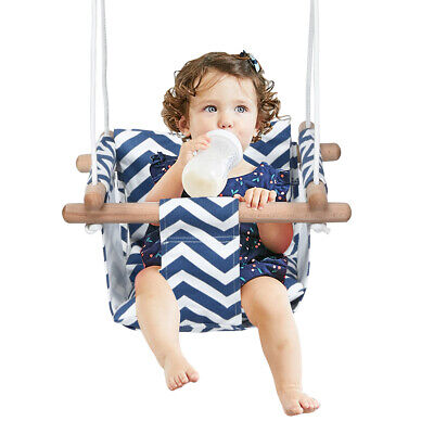 Baby Swing Seat Canvas Infant Toddler High Back Hanging Hammock In& Outdoor Blue