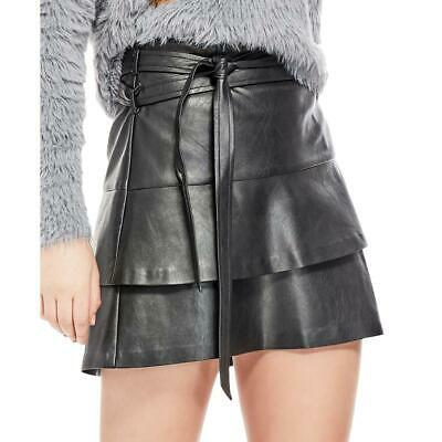 Guess Womens Black Faux Leather Tiered Night Out Mini Skirt 2 BHFO 6371