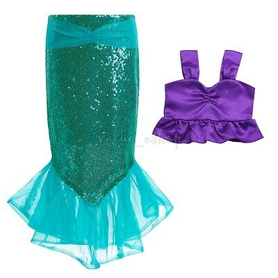 Little Mermaid Girl Kostüme (Girl Little Mermaid Costume Child Fantasy Fairytale Fancy Dress Top+Skirt Outfit)