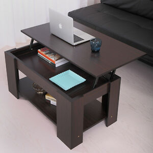 Coffee Table With Lift Top With Storage Living Room Modern Furniture Walnut  Wood