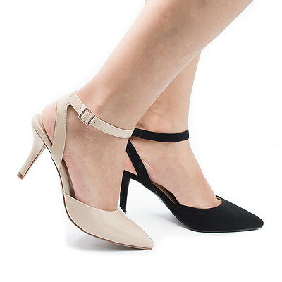 Stiletto Heel Slingback Pumps - Don Pointed Toe Sling Back Comfort Stiletto Heel Dress Pump