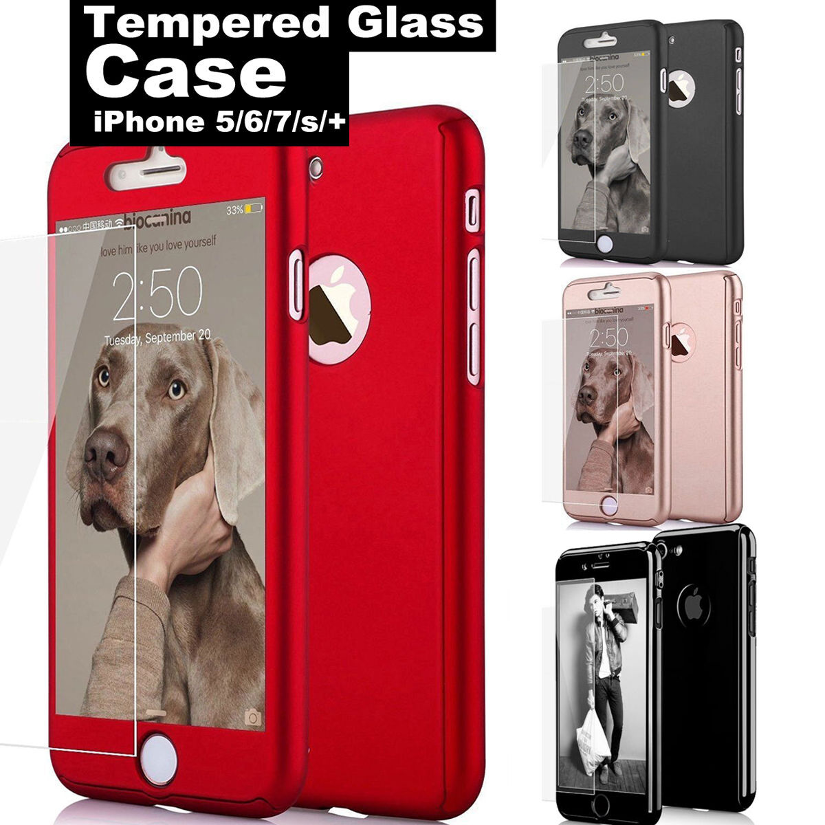 For iPhone 6 6S 6 7 Plus Case Ultra Slim Hard Shockproof Cover + Tempered Glass