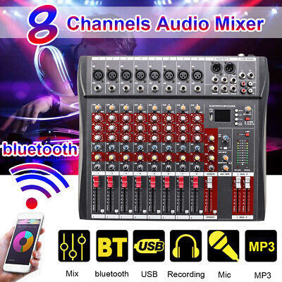 8 Channel bluetooth Live Studio Audio Mixer Mixing Console U