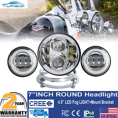 """7"""" LED Projector Daymaker Headlight Passing Lights For Harley Touring Motorcycle"""