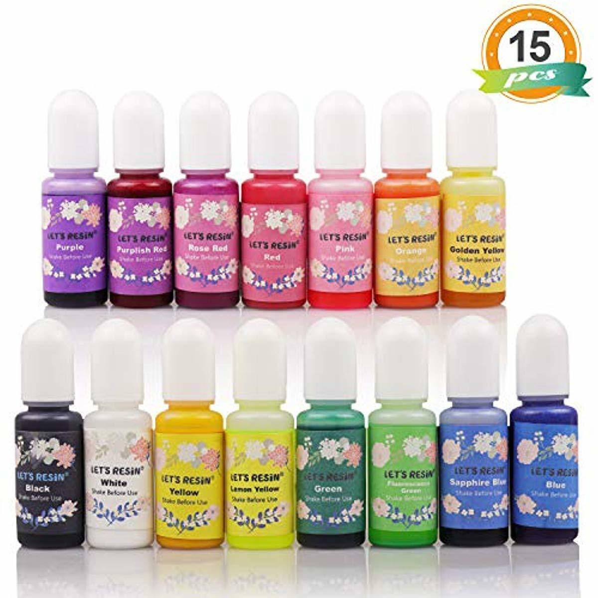 LET'S RESIN 15 Colors Epoxy Pigment, Translucent Liquid Resi