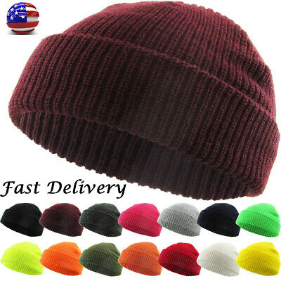 Warm Winter Knit Cuff Beanie Cap Fisherman Watch Cap Daily Ski Hat Skully Hats