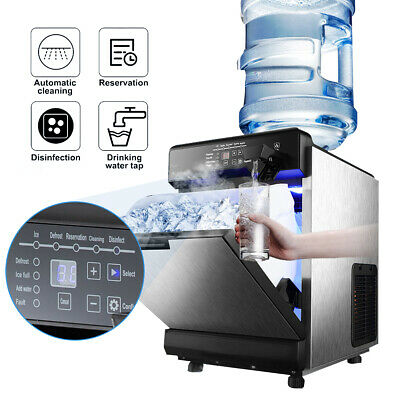 2 In 1 Commercial 50kg Ice Maker Wwater Dispenser 110lbs In 24hrs 14lbs Storage