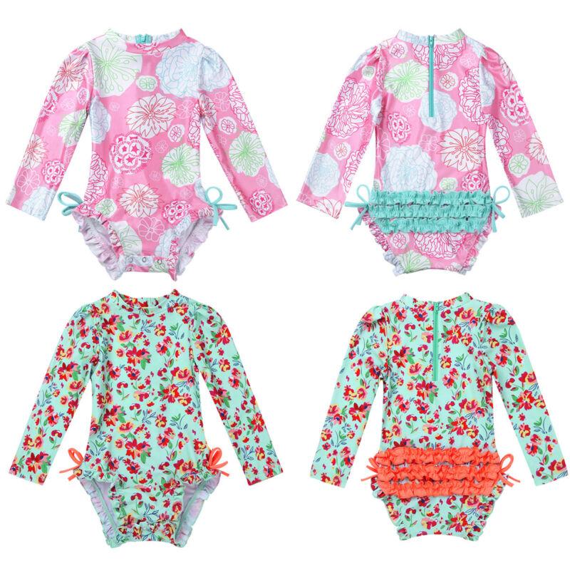 Baby Mädchen Langarm Badebekleidung UV Schutz Badeanzug Bodysuit Strandkleidung