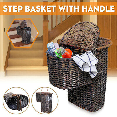 Wicker Handwoven Stair Step Storage Basket Container Carry Handle 2 - Wicker Storage Baskets
