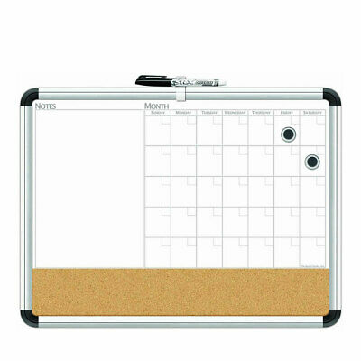 The Board Dudes Cxp65 17 X 23 Inch Magnetic 3 In 1 Dry Erase Cork Calendar Board