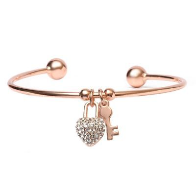 18K Gold Plated Rose Gold and White Swarovski Elements Heart Lock and Key Charm