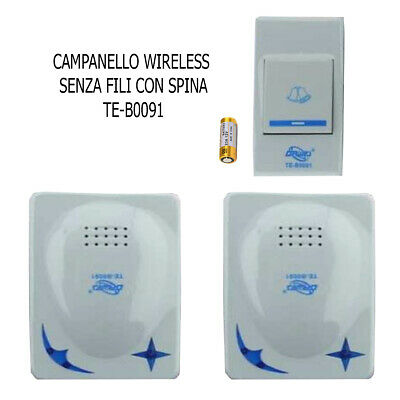 CAMPANELLO SENZA FILI DA ESTERNO WIRELESS 1 TRASMETTITORE 2 RICEVITORI SPINA 91