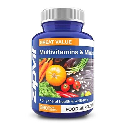 Multivitamins & Minerals - Pack of 360 Vegan Tablets, One A Day for Men & Wom...