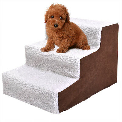 Pet Stairs 3 Steps Soft Portable Cat Dog Ladder w/ Cover Animal Ramp Small Climb