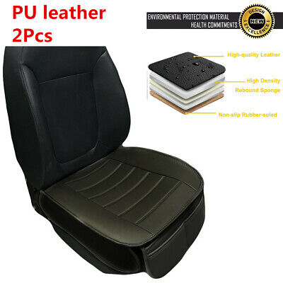 2Pcs Classic Black PU Leather Car Seat Cover Driver Front Cushion w/Storage Bags
