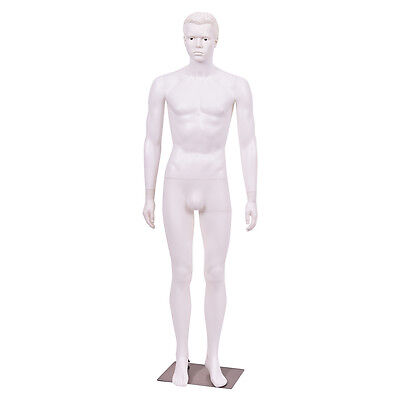 6 FT Male Mannequin Plastic Full Body Dress Form Display w/ Base White New