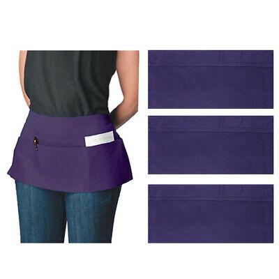 3pk12pk Canvas 3-pocket Waist Apron Bulk Set Short Waitress Waiter Server Half