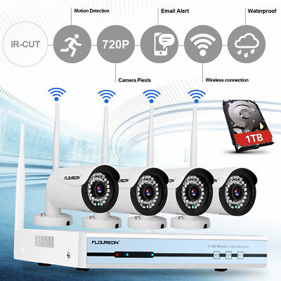 1TB HDD Wireless Home Security System WIFI 4CH 720P CCTV IP Camera 1080P NVR KIT