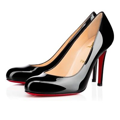 New Christian Louboutin Simple Black Patent Leather 100mm Pumps 35.5/5.5 $695.00 Black Leather Simple Pumps
