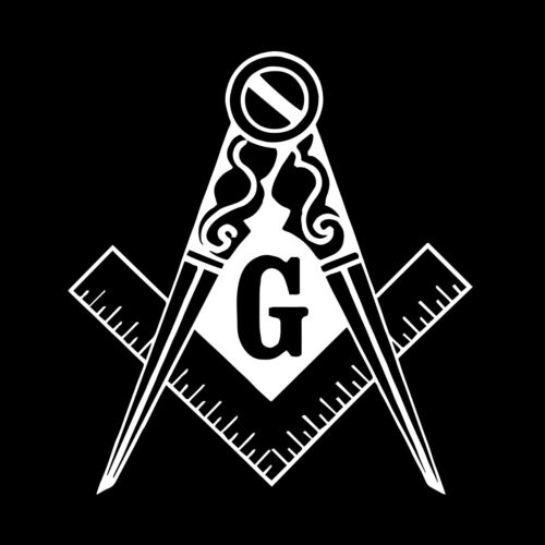 Traditional Square & Compass Masonic Vinyl Decal - White 6 Inch