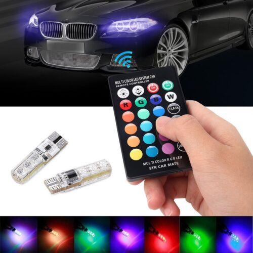 2X T10 5050 W5W 6 SMD Remote Control RGB LED Car Dome Reading Light Lamp Bulb