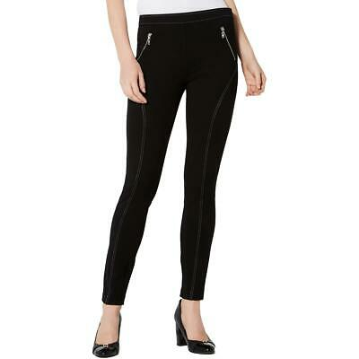 Tommy Hilfiger Womens Black Contrast Stitching Skinny Leggings 6 BHFO 3252