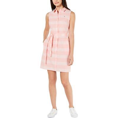 Tommy Hilfiger Womens Gingham Sleeveless Cotton Shirtdress BHFO 8272
