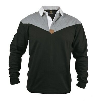 Guinness Heritage Charcoal Grey & Black Rugby LS Jersey Mens Irish Ireland New