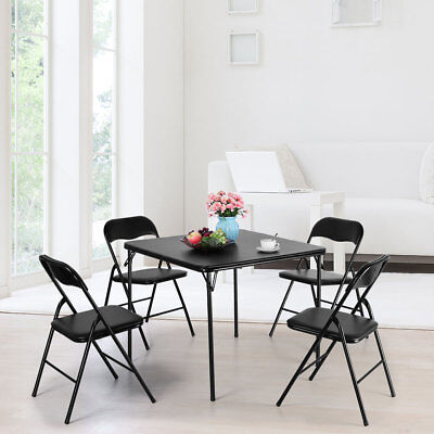 Indoor/Outdoor 5-Pieces Folding Chair and Table Set w/ light weight PVC material (Table Settings)