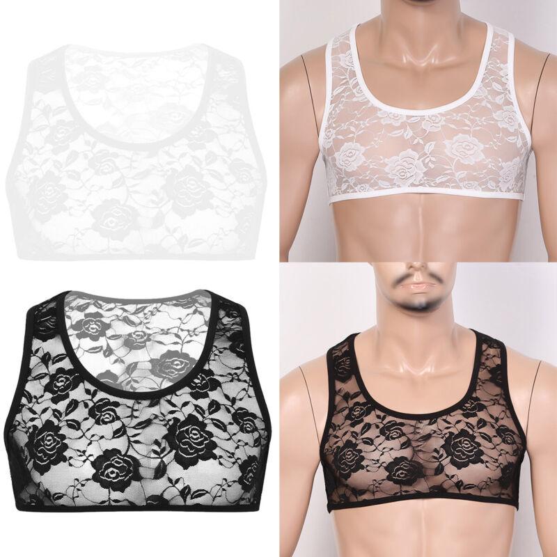 Mens Underwear Sissy Bra Vest Sleeveless Mesh Nightwear Lace Floral Crop Top Fit