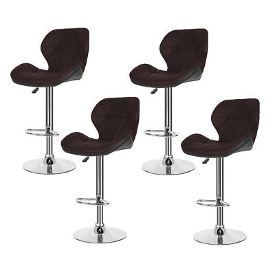 Set of 4 Bar Stools Modern Chair Kitchen Pub Leather Breakfast Seat Swivel Brown ()