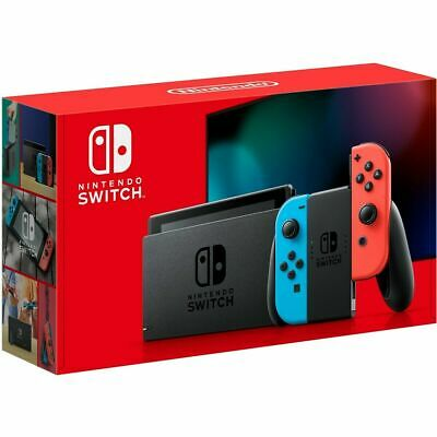 Nintendo Switch 32GB Gray Console with Neon Blue Neon Red Joy-Con IN HAND