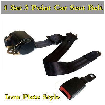 Set Of 3 Point Adjustable Retractable Car Seat Belt Lap & Diagonal Seatbelt Kit